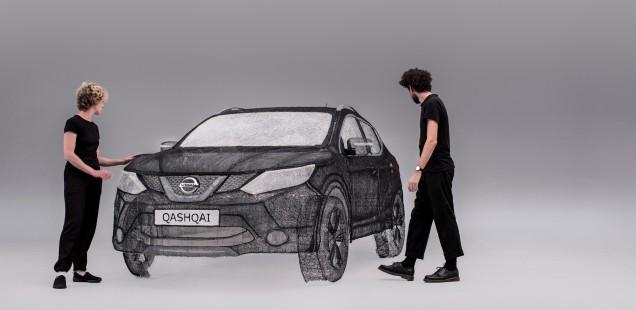 Nissan crea l' escultura més gran del món feta amb bolígraf 3D, un crossover Qashqai de mida real